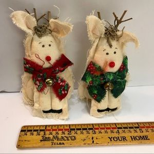 2 Reindeer Rag Christmas Ornaments
